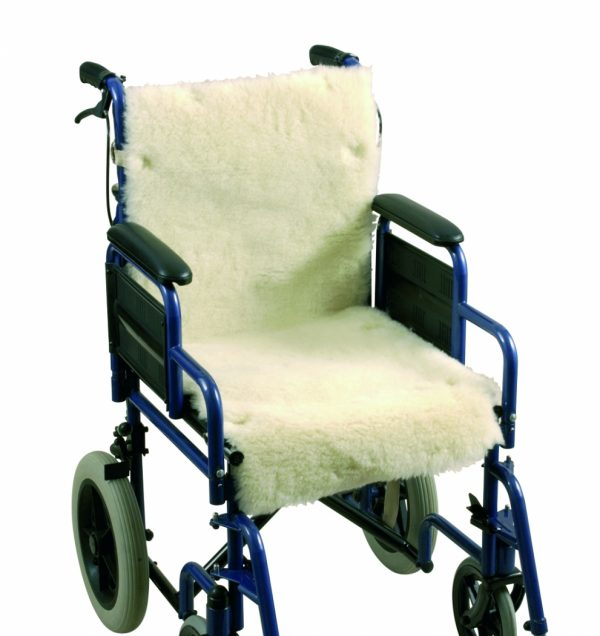 Schapenvacht voor rolstoel zitting en rugleuning